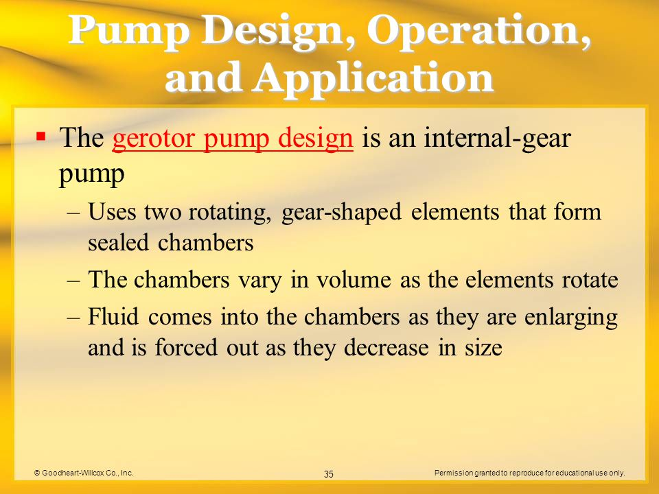 © Goodheart-Willcox Co., Inc.Permission granted to reproduce for educational use only. 35 Pump Design, Operation, and Application  The gerotor pump d