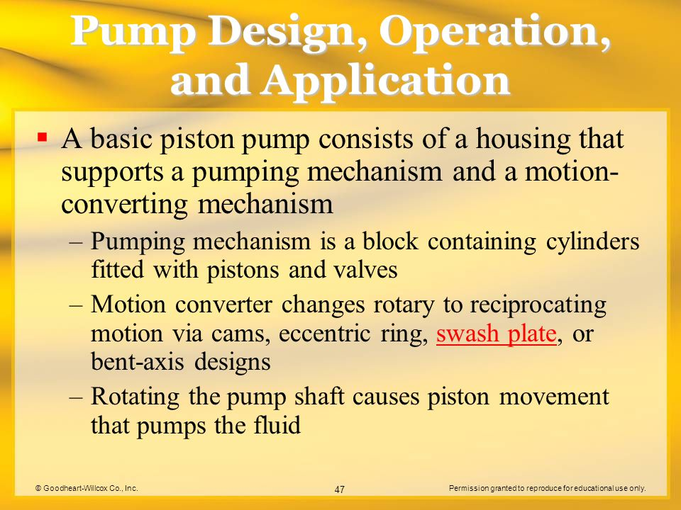 © Goodheart-Willcox Co., Inc.Permission granted to reproduce for educational use only. 47 Pump Design, Operation, and Application  A basic piston pum
