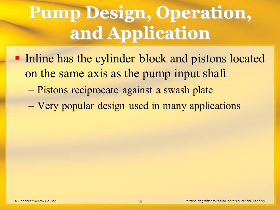 © Goodheart-Willcox Co., Inc.Permission granted to reproduce for educational use only. 50 Pump Design, Operation, and Application  Inline has the cyl