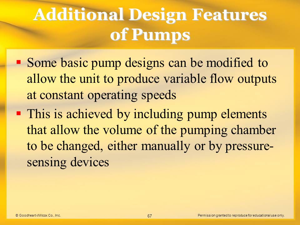 © Goodheart-Willcox Co., Inc.Permission granted to reproduce for educational use only. 67 Additional Design Features of Pumps  Some basic pump design