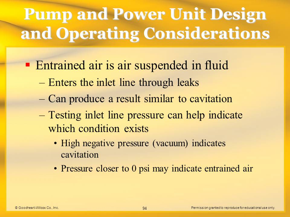 © Goodheart-Willcox Co., Inc.Permission granted to reproduce for educational use only. 94 Pump and Power Unit Design and Operating Considerations  En