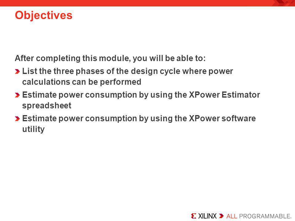 Xilinx Power Estimator Power Graphs