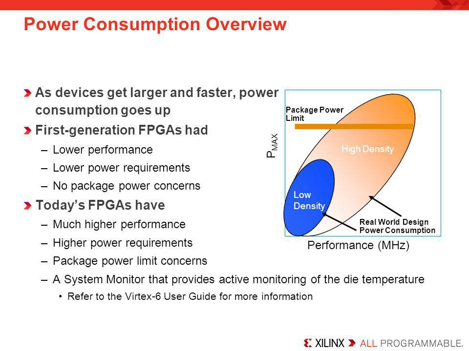 Power Consumption Concerns High-speed and high-density designs require more power, leading to higher junction temperatures Package thermal limits exist –125° C for plastic –150° C for ceramic Power directly limits –System performance –Design density –Package options –Device reliability
