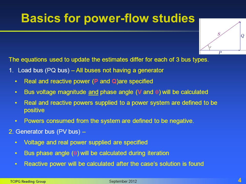 TCIPG Reading Group September 2012 4 Basics for power-flow studies The equations used to update the estimates differ for each of 3 bus types. 1.Load b