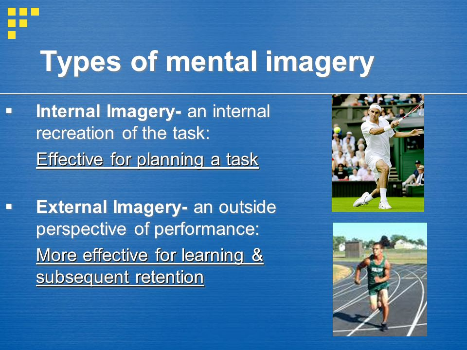 Internal Imagery- an internal recreation of the task: Effective for planning a task  External Imagery- an outside perspective of performance: More