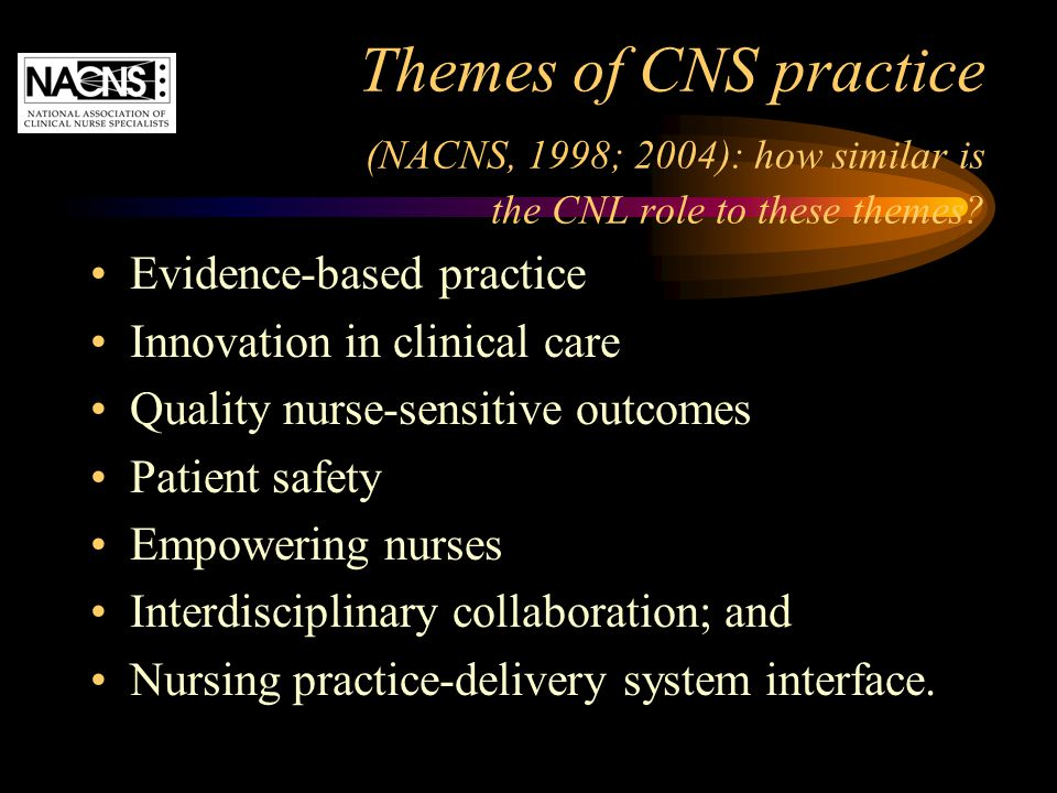 Themes of CNS practice (NACNS, 1998; 2004): how similar is the CNL role to these themes? Evidence-based practice Innovation in clinical care Quality n