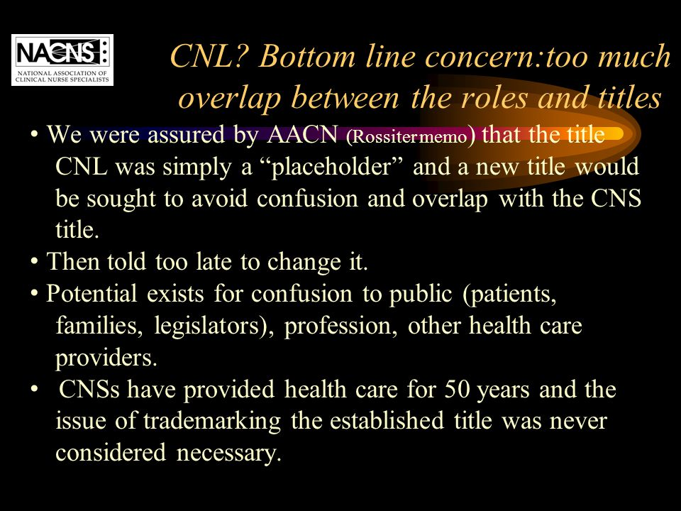 """CNL? Bottom line concern:too much overlap between the roles and titles We were assured by AACN (Rossiter memo ) that the title CNL was simply a """"place"""