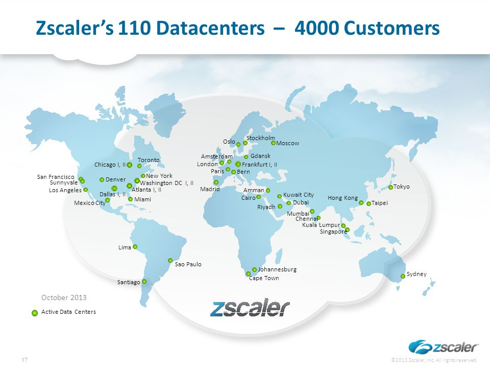 Zscaler's 110 Datacenters – 4000 Customers Active Data Centers October 2013 Amsterdam Los Angeles Mexico City Chicago I, II Toronto New York Washingto