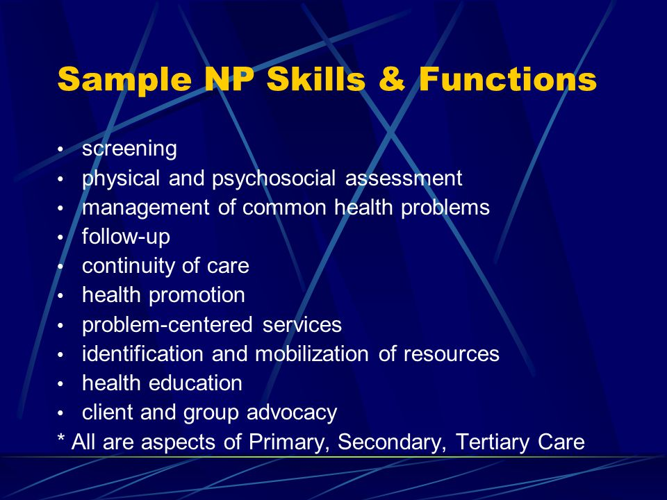 Sample NP Skills & Functions screening physical and psychosocial assessment management of common health problems follow-up continuity of care health promotion problem-centered services identification and mobilization of resources health education client and group advocacy * All are aspects of Primary, Secondary, Tertiary Care