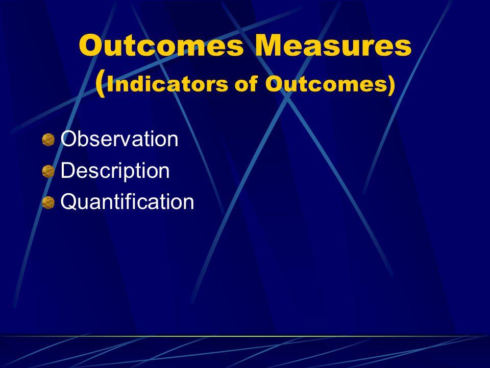 Outcomes Measures ( Indicators of Outcomes) Observation Description Quantification