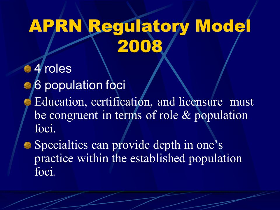 APRN Regulatory Model 2008 4 roles 6 population foci Education, certification, and licensure must be congruent in terms of role & population foci.