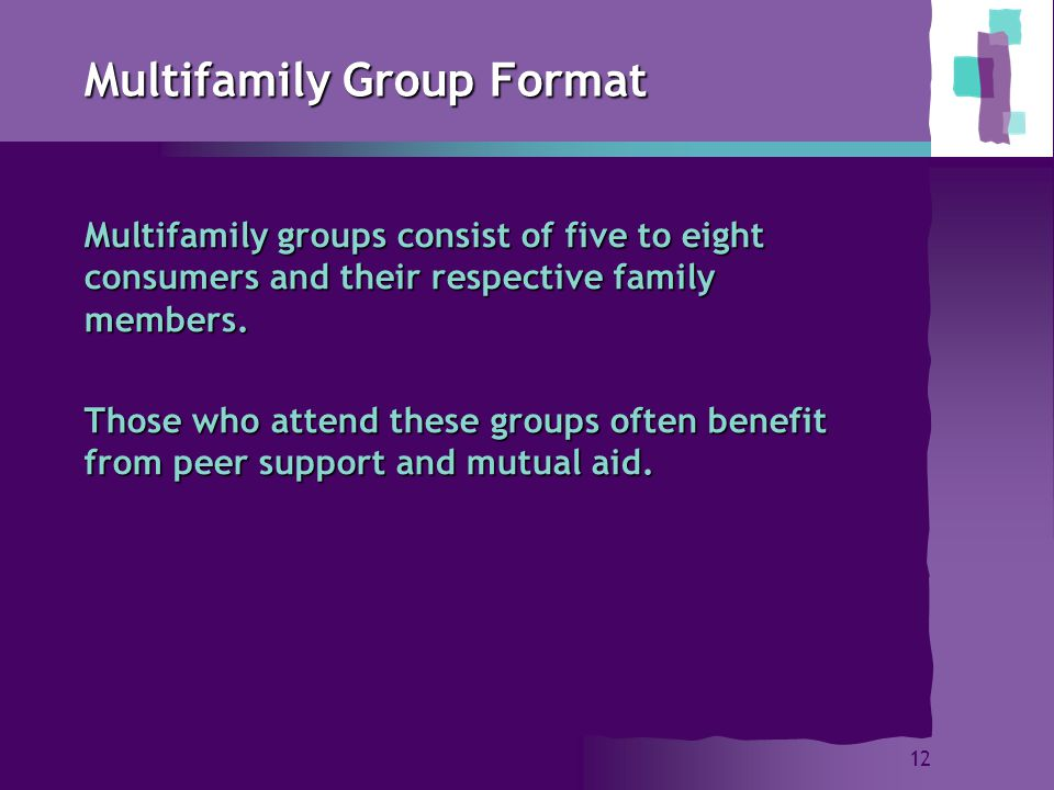 12 Multifamily Group Format Multifamily groups consist of five to eight consumers and their respective family members.