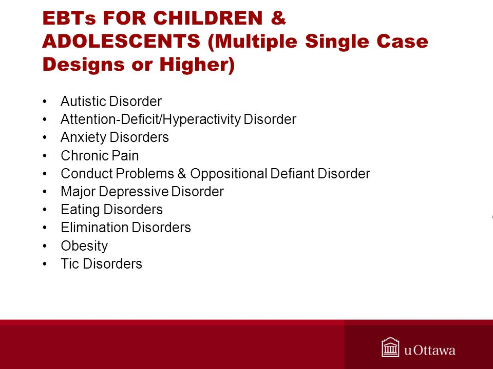 EBTs FOR CHILDREN & ADOLESCENTS (Multiple Single Case Designs or Higher) Autistic Disorder Attention-Deficit/Hyperactivity Disorder Anxiety Disorders
