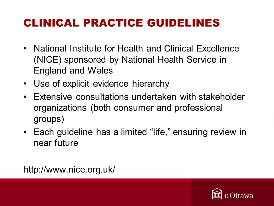 CLINICAL PRACTICE GUIDELINES National Institute for Health and Clinical Excellence (NICE) sponsored by National Health Service in England and Wales Us