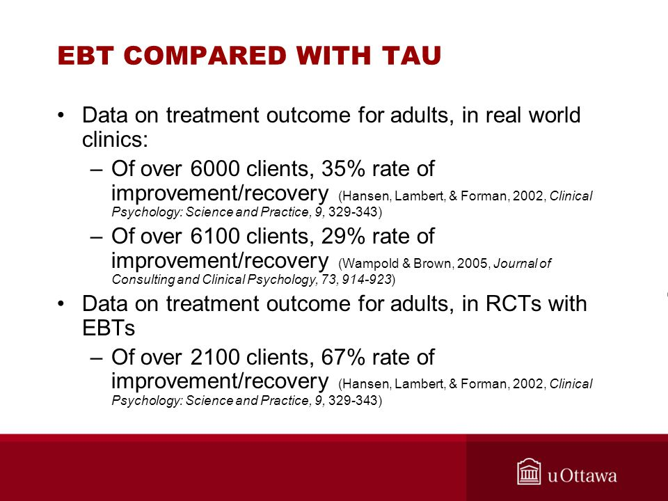 EBT COMPARED WITH TAU Data on treatment outcome for adults, in real world clinics: –Of over 6000 clients, 35% rate of improvement/recovery (Hansen, La