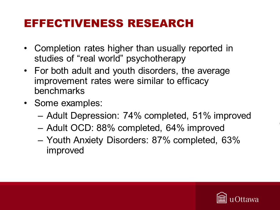 """EFFECTIVENESS RESEARCH Completion rates higher than usually reported in studies of """"real world"""" psychotherapy For both adult and youth disorders, the"""