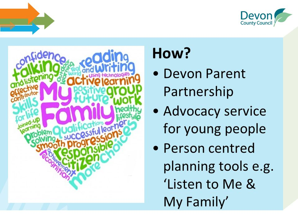 How? Devon Parent Partnership Advocacy service for young people Person centred planning tools e.g. 'Listen to Me & My Family'
