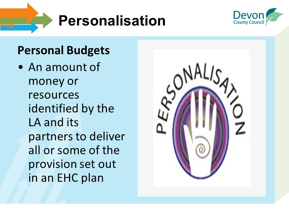 Personalisation Personal Budgets An amount of money or resources identified by the LA and its partners to deliver all or some of the provision set out