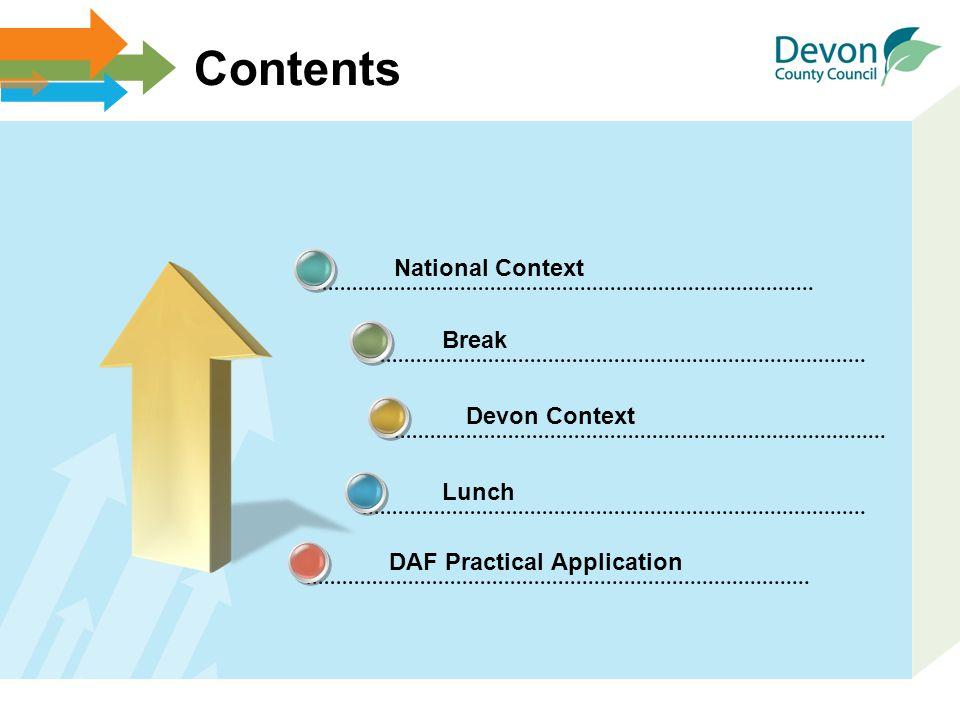 DAF Practical Application Contents National Context Break Devon Context Lunch