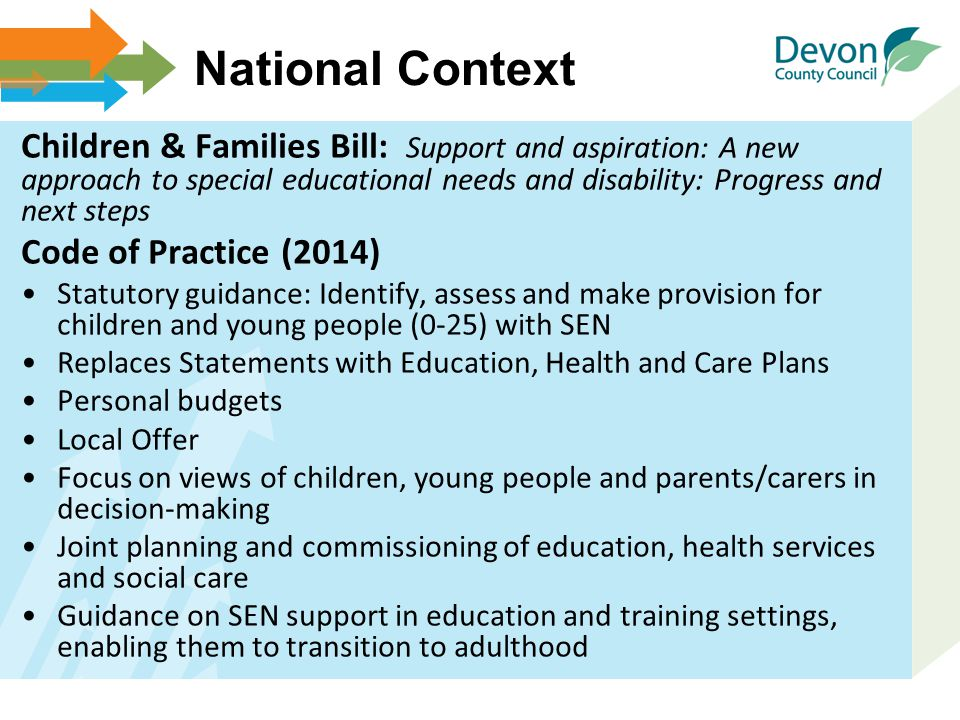 National Context Children & Families Bill: Support and aspiration: A new approach to special educational needs and disability: Progress and next steps