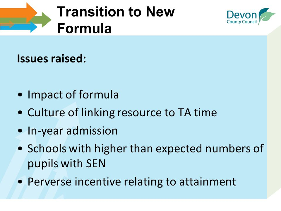 Transition to New Formula Issues raised: Impact of formula Culture of linking resource to TA time In-year admission Schools with higher than expected