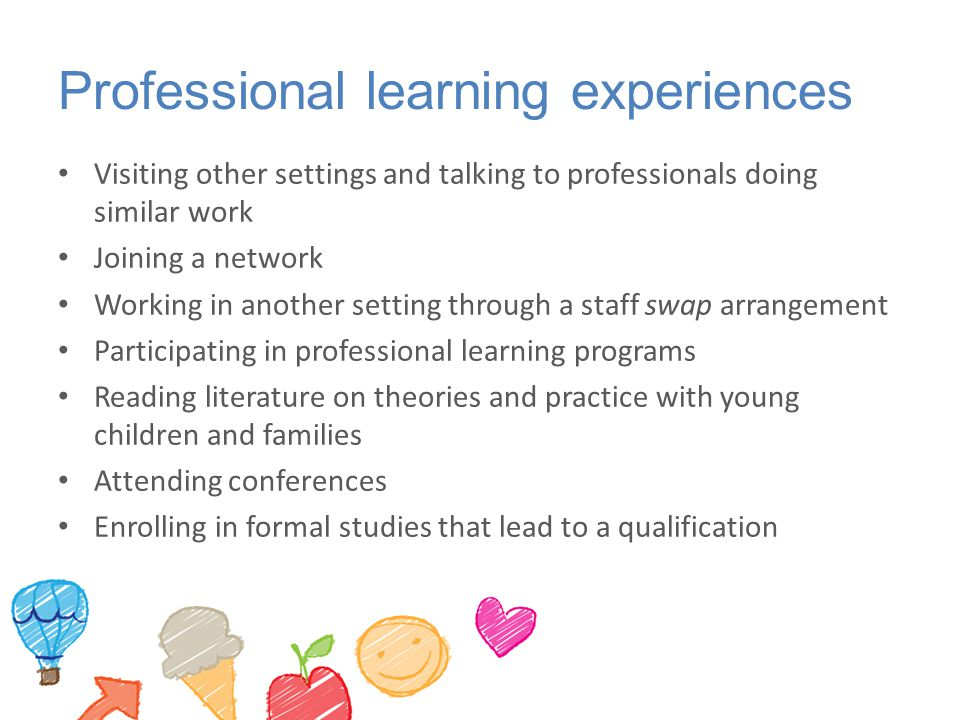 Professional learning experiences Visiting other settings and talking to professionals doing similar work Joining a network Working in another setting