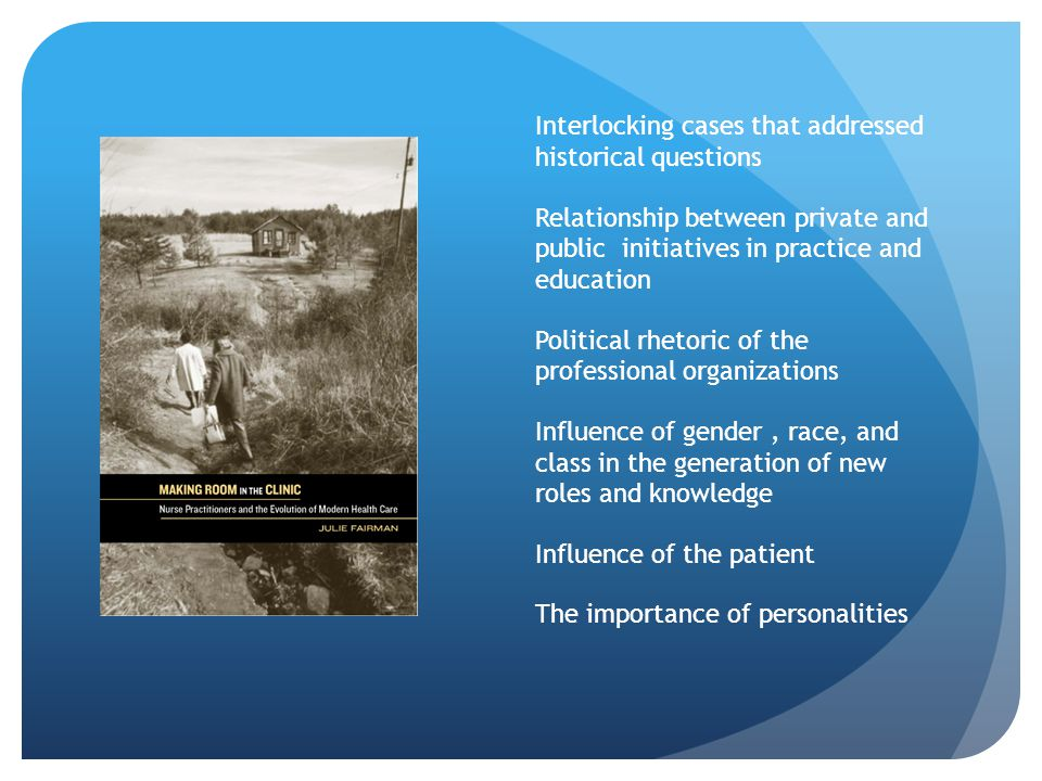 Interlocking cases that addressed historical questions Relationship between private and public initiatives in practice and education Political rhetoric of the professional organizations Influence of gender, race, and class in the generation of new roles and knowledge Influence of the patient The importance of personalities
