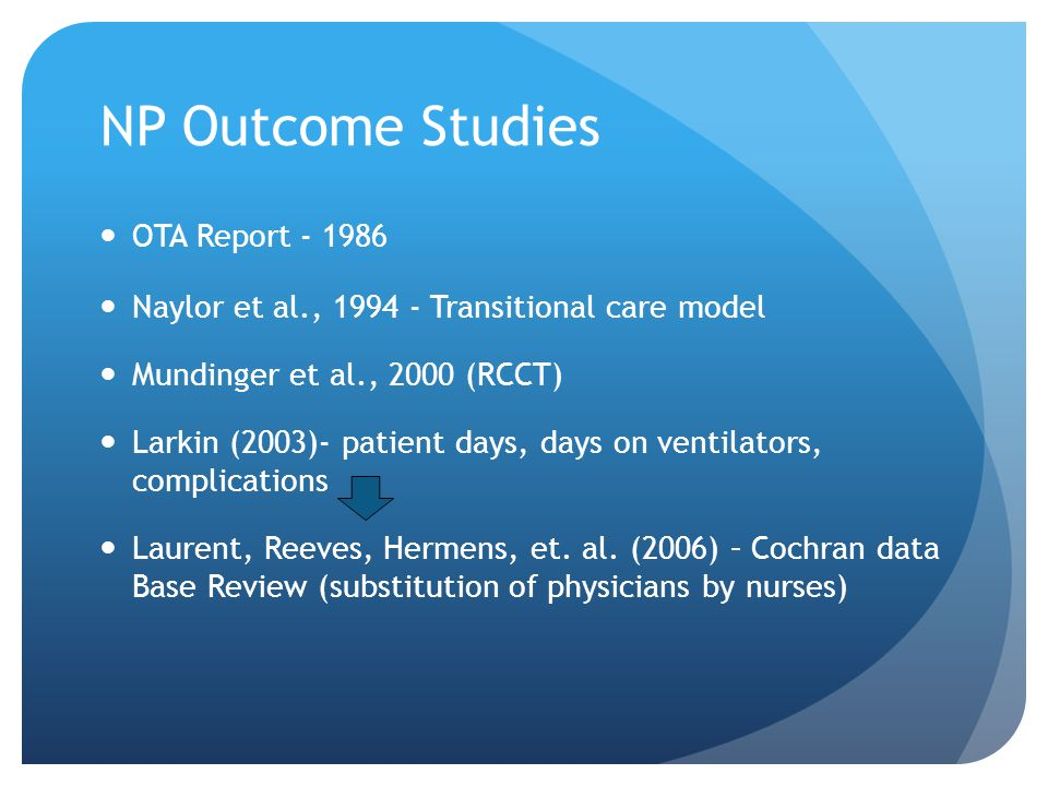 NP Outcome Studies OTA Report - 1986 Naylor et al., 1994 - Transitional care model Mundinger et al., 2000 (RCCT) Larkin (2003)- patient days, days on ventilators, complications Laurent, Reeves, Hermens, et.
