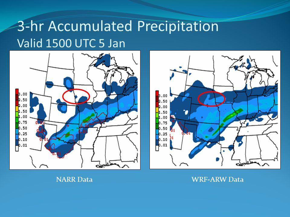 3-hr Accumulated Precipitation Valid 1500 UTC 5 Jan NARR DataWRF-ARW Data
