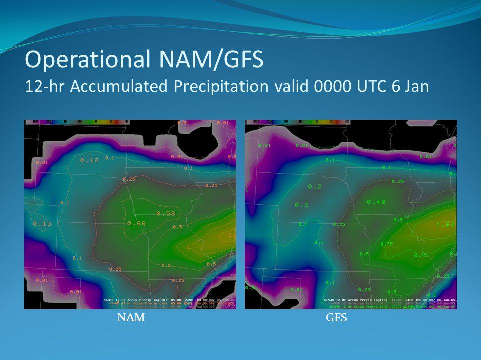 Operational NAM/GFS 12-hr Accumulated Precipitation valid 0000 UTC 6 Jan NAMGFS