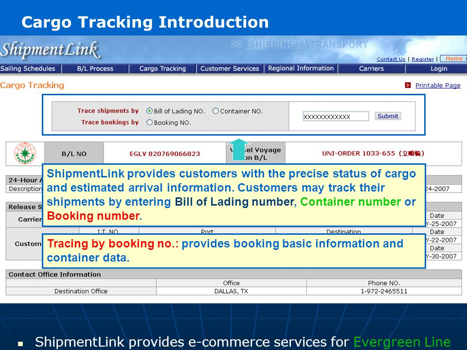 ShipmentLink provides e-commerce services for Evergreen Line Manifest filing status Provides Carrier status and customs status for customer to prepare to pick up their shipment.