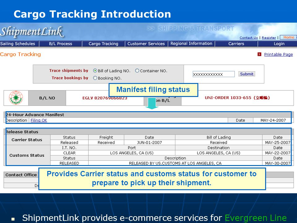 ShipmentLink provides e-commerce services for Evergreen Line Manifest filing status Provides Carrier status and customs status for customer to prepare