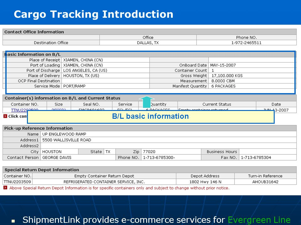 Container information: including container number, container size, seal number on B/L, service type, quantity and current container status ShipmentLink provides e-commerce services for Evergreen Line Cargo Tracking Introduction