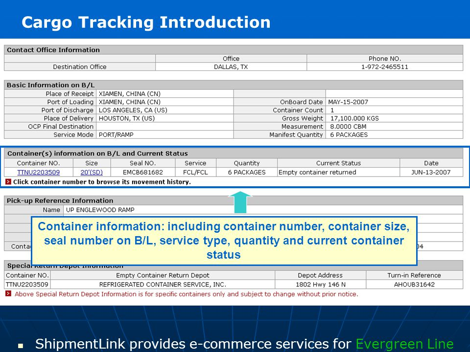 Container information: including container number, container size, seal number on B/L, service type, quantity and current container status ShipmentLin