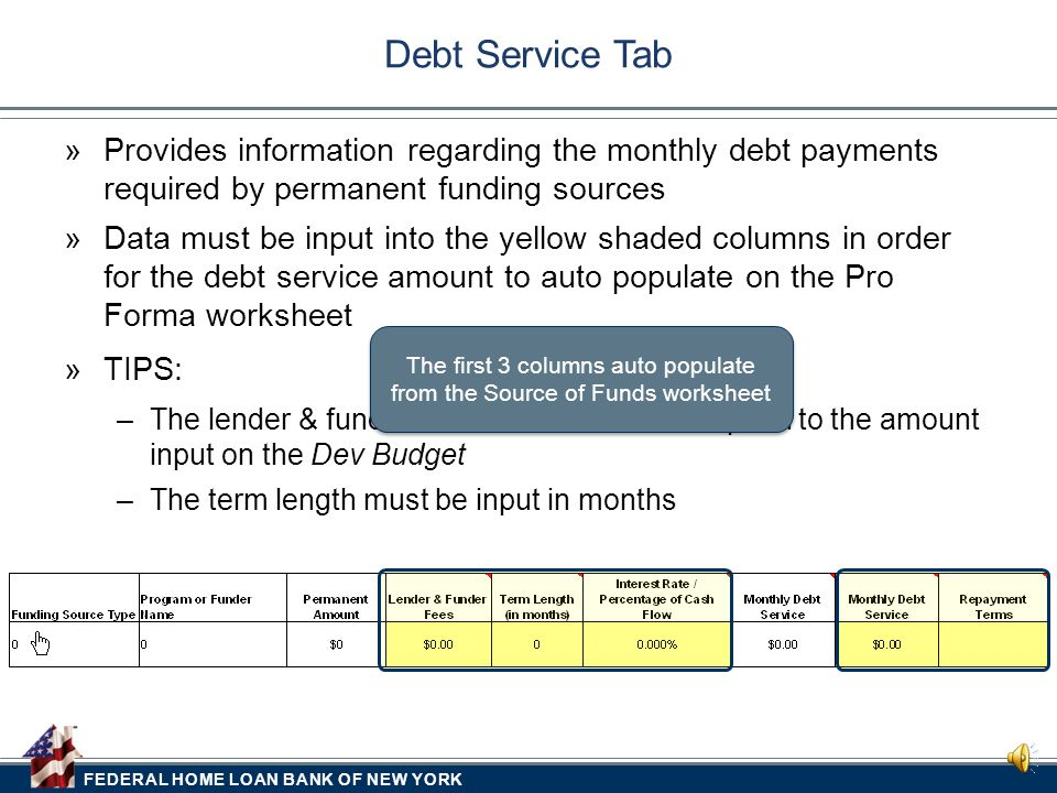 FEDERAL HOME LOAN BANK OF NEW YORK  Provides information regarding the monthly debt payments required by permanent funding sources Debt Service Tab  Data must be input into the yellow shaded columns in order for the debt service amount to auto populate on the Pro Forma worksheet  TIPS: –The lender & funder fee amount must correspond to the amount input on the Dev Budget –The term length must be input in months The first 3 columns auto populate from the Source of Funds worksheet