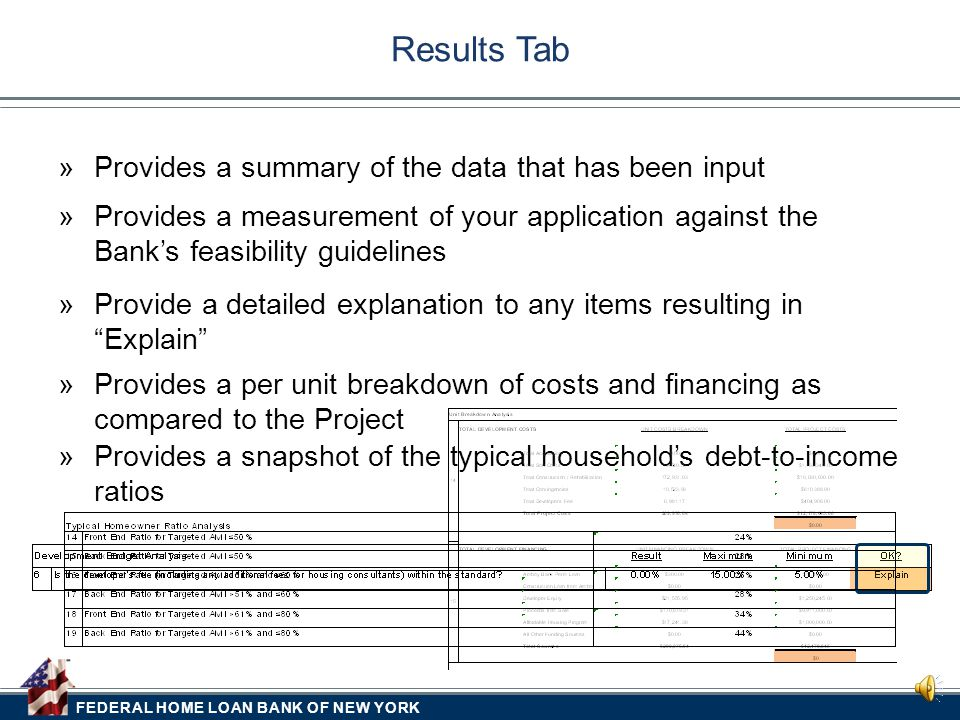 FEDERAL HOME LOAN BANK OF NEW YORK  Provides a breakdown of the Project's typical household by Targeted AMI buckets Market Tab  For purchase transac
