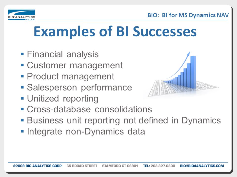  Financial analysis  Customer management  Product management  Salesperson performance  Unitized reporting  Cross-database consolidations  Business unit reporting not defined in Dynamics  Integrate non-Dynamics data Examples of BI Successes BIO: BI for MS Dynamics NAV