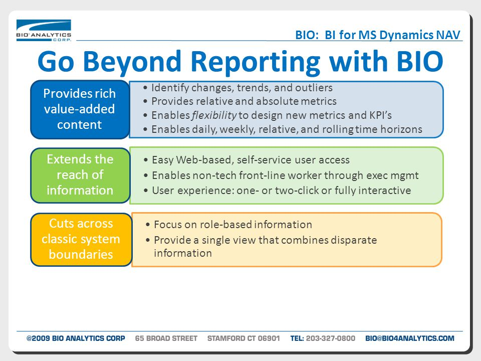 Go Beyond Reporting with BIO Identify changes, trends, and outliers Provides relative and absolute metrics Enables flexibility to design new metrics and KPI's Enables daily, weekly, relative, and rolling time horizons Provides rich value-added content Easy Web-based, self-service user access Enables non-tech front-line worker through exec mgmt User experience: one- or two-click or fully interactive Extends the reach of information Focus on role-based information Provide a single view that combines disparate information Cuts across classic system boundaries Visualizations that tell a story BIO: BI for MS Dynamics NAV