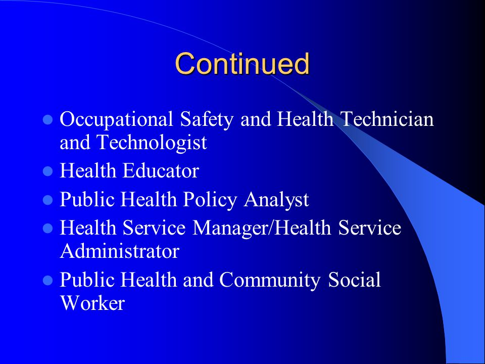 New Recommended SOC Public Health Occupations Epidemiologist Environmental Engineer Environmental Engineering Technician and Technologist Environmental Scientist and Specialist Environmental Scientist Technician and Technologist