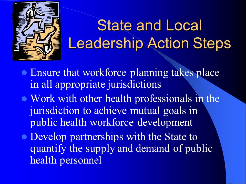 National Leadership Action Steps Organize national forum of key stakeholders to examine human resource allocation and public health trends Develop Leadership modules for training to assess roles in a changing public health environment Involve frontline practitioners from all sectors in training