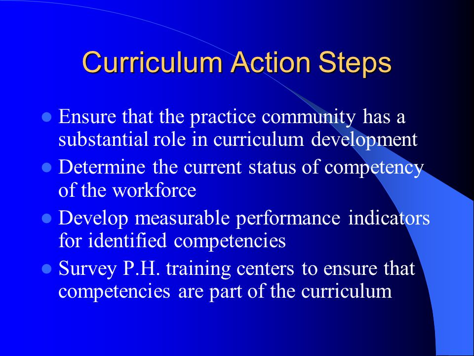 Curriculum Development Competencies(Action Steps) Verify that identified competencies are necessary for efficient and effective P.H.