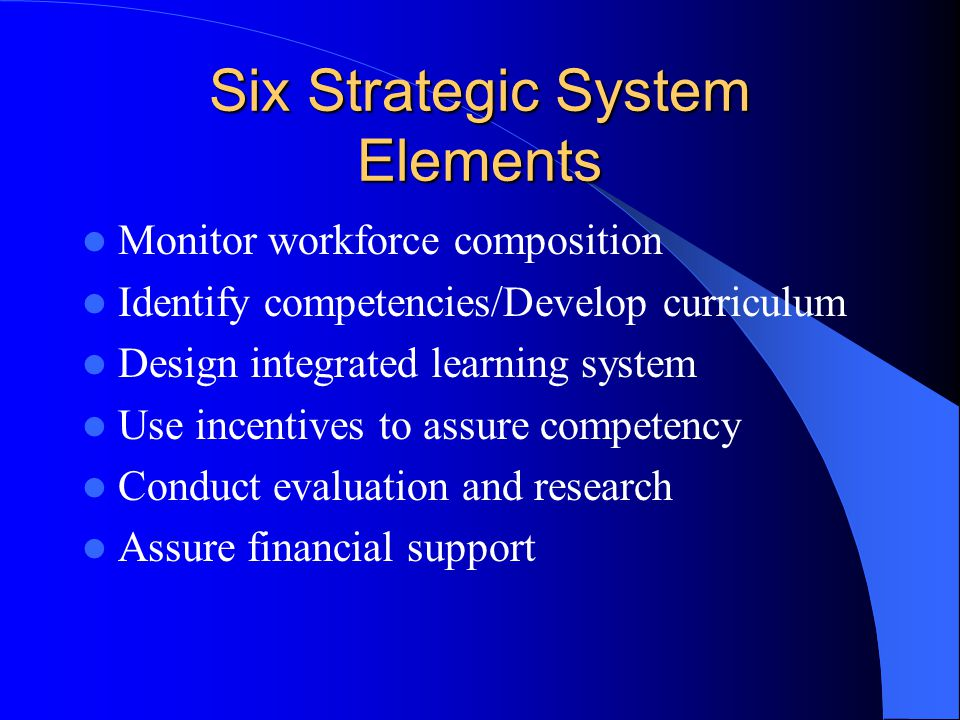 Premise(2) Design a cohesive learning system to develop and deliver a comprehensive P.H.