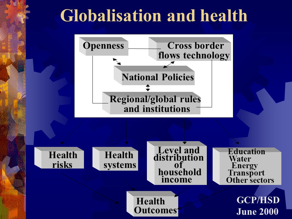 Public health & Globalisation Globalisation The intensification of global flows of capital, goods, ideas and people across borders and the institutions and rules established to regulate these flows.