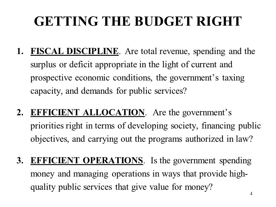 4 GETTING THE BUDGET RIGHT 1.FISCAL DISCIPLINE.