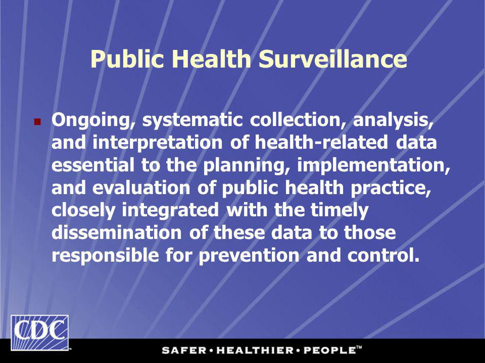 Public Health Surveillance Ongoing, systematic collection, analysis, and interpretation of health-related data essential to the planning, implementation, and evaluation of public health practice, closely integrated with the timely dissemination of these data to those responsible for prevention and control.