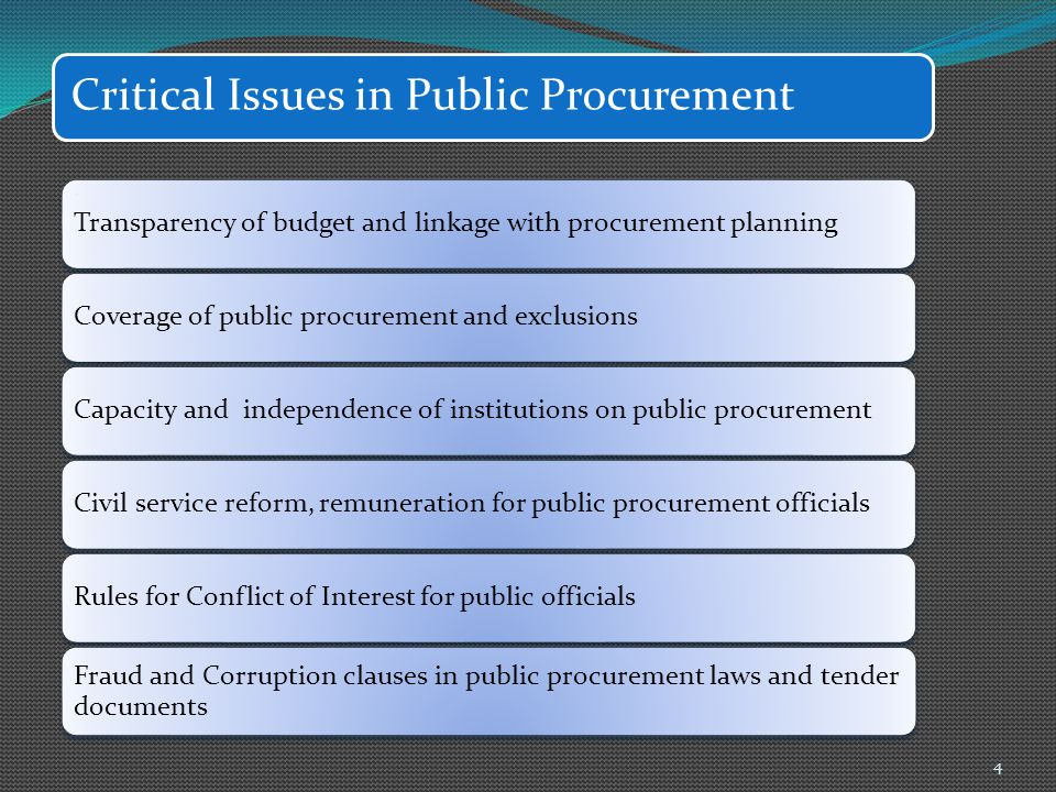 Critical Issues in Public Procurement Transparency of budget and linkage with procurement planningCoverage of public procurement and exclusionsCapacit