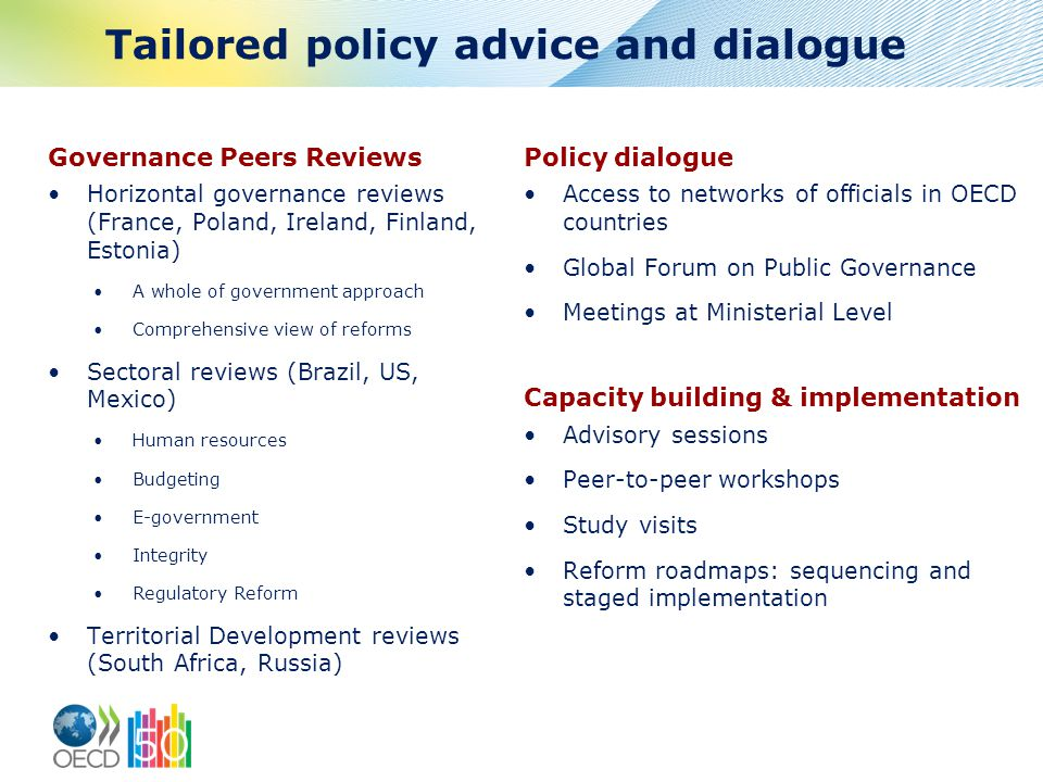 Tailored policy advice and dialogue Governance Peers Reviews Horizontal governance reviews (France, Poland, Ireland, Finland, Estonia) A whole of government approach Comprehensive view of reforms Sectoral reviews (Brazil, US, Mexico) Human resources Budgeting E-government Integrity Regulatory Reform Territorial Development reviews (South Africa, Russia) Policy dialogue Access to networks of officials in OECD countries Global Forum on Public Governance Meetings at Ministerial Level Capacity building & implementation Advisory sessions Peer-to-peer workshops Study visits Reform roadmaps: sequencing and staged implementation