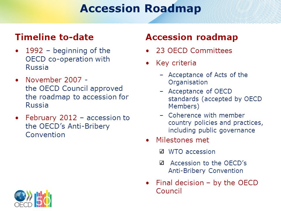 Accession Roadmap Timeline to-date 1992 – beginning of the OECD co-operation with Russia November 2007 - the OECD Council approved the roadmap to accession for Russia February 2012 – accession to the OECD's Anti-Bribery Convention Accession roadmap 23 OECD Committees Key criteria –Acceptance of Acts of the Organisation –Acceptance of OECD standards (accepted by OECD Members) –Coherence with member country policies and practices, including public governance Milestones met WTO accession Accession to the OECD's Anti-Bribery Convention Final decision – by the OECD Council