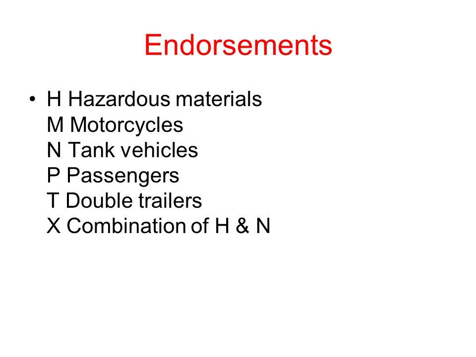Endorsements H Hazardous materials M Motorcycles N Tank vehicles P Passengers T Double trailers X Combination of H & N