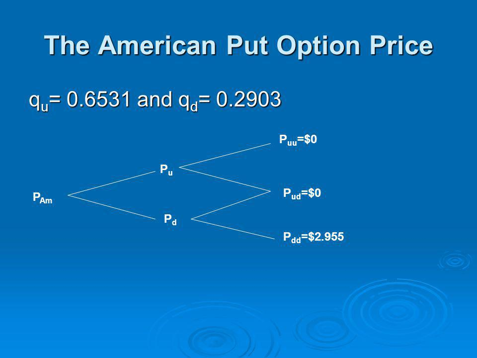 The American Put Option Price q u = 0.6531 and q d = 0.2903 P Am PuPu PdPd P uu =$0 P ud =$0 P dd =$2.955